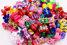 100 Dif PET Puppy dog hair Bows bands clips Yorkie Maltese 2 Free Valentine bows