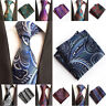 Men's Bright Color Paisley Necktie Tie Handkerchief Pocket Square Matching Set