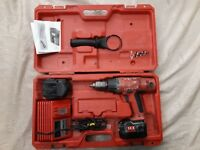 """Milwaukee 14.4v 1/2"""" Hammer Drill Power Plus, W/Two Batteries, W/Charger & Case"""