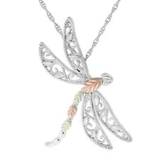 Black Hills Gold dragonfly pendant .925 sterling silver womens 18 inch necklace