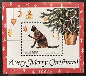 ST. VINCENT CATS STAMPS S/S 1998 MNH CHRISTMAS CAT TORTOISESHELL SHORTHAIR PETS
