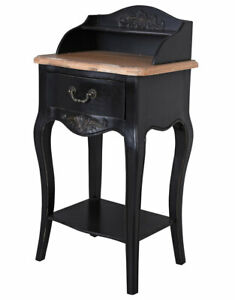 Night Console Black Table Country Style Bedside Wardrobe