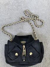 Moschino Couture Jeremy Scott Black Biker Jacket Bag w/Gold Hardware