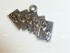 C270...PACK OF 20 ANTIQUED SILVER PLATED CHARMS - PLAYING CARDS