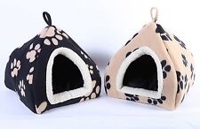 Paw Print Pet Dog Cat Portable foldable Indoor Pet House Beds Small Sized Pets