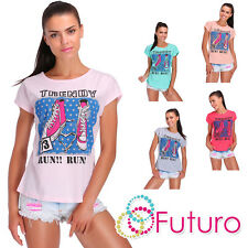 Casual T-Shirt Trendy Print Crew Neck Short Sleeve Cotton Top Sizes 8-14 FB165