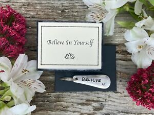 Believe - Inspirational, Vintage Cutlery Keyring Gift with Positivity Message