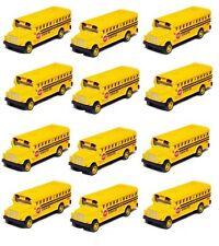 """12 Pcs 2&frac12 """" Die Cast Mini Long Nose School Bus Pull Back Action"""