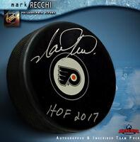 "Mark Recchi Signed Philadelphia Flyers Puck Inscribed ""HOF 2017"""