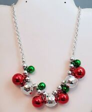 """Christmas Necklace Ugly Sweater Accessory Bell Ornament Charm Red Green 18-22"""""""