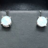 Round 1 Ct White Opal Stud Earrings Women Jewelry Gift 925 Sterling Silver