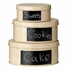 Premier Housewares Clifton Storage Tins with Chalkboard - Set of 3, Cream