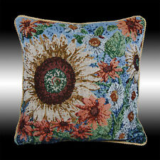 NEW BLUE SUNFLOWERS TAPESTRY BOTH SIDES DECO CUSHION COVER THROW PILLOW CASE 17""