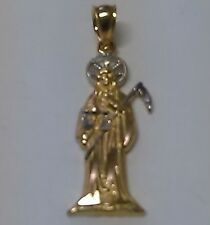 14K Solid Gold Dije de la Santa Muerte  Grim Reaper Holly Death   pendant Charm