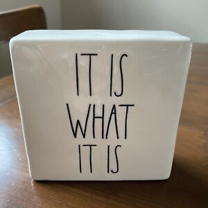 """Rae Dunn Artisan Collection 4""""x4"""" Square Block Quotable 'It Is What It Is'"""