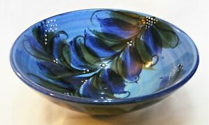 Gwili Pottery – Hand Made &  Hand Painted Bowl - Seaweed Blue Design – Very Good