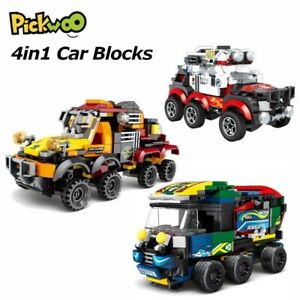 4in1 City Car Building Blocks Automobile 4 Sport Super Racers Figures Bricks DIY