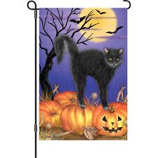 """Jack-O-Lantern Kitty"" 12"" Halloween Garden Flag by Premier"