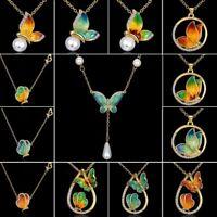 Women Charm Crystal Rhinestone Pearl Flying Butterfly Pendant Necklace Jewellery
