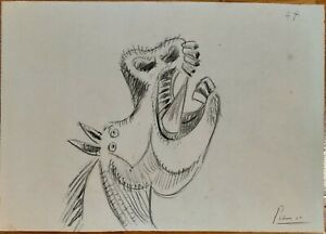 picasso black crayon sketch   study for Guernica  signed, no print or repro