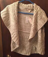 NEW! JUNIORS WOMENS BEIGE BROWN MARBLE IT'S OUR TIME SWEATER VEST, SIZE L LARGE
