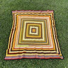 "Vintage Crochet Multicolored Square Handmade Blanket Afghan 51""x53"""