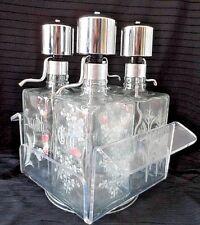 Vintage Etched Glass & Chrome Liquor PUMP DECANTER Bar SET 4 w/ Lucite Tray