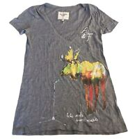 Abercrombie & Fitch Women's T Shirt Grey V Neck Small Short Sleeve Cotton Blend