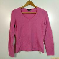ANN TAYLOR V-neck CASHMERE L/S Sweater Womens Size M Rose pink