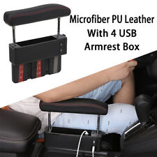 PU Leather Car Armrest Center Consoles Cushion Storage Box Organizer Tray Black