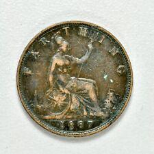 GB VICTORIA 'BUN HEAD' FARTHING 1887 ++ SHARP GRADE!! ++ [970-29]