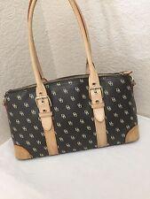 Dooney & Bourke Brown PVC Tan Leather Monogram Satchel Handbag
