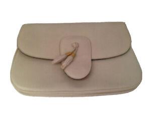 Lederer Vintage Italian Leather Cream Rounded Clutch Bag Purse 8 x 6 x 1
