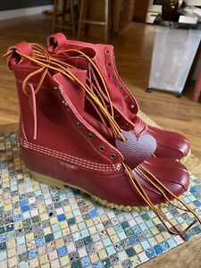 "Rare L.L. Bean 6"" Bean Boots All Red Cherry Heart Edition Women Sz 11"