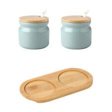 Set of 2 Ceramic Sugar Bowl Condiment Pots Seasoning Box salt jar with Lid Spoon