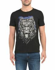 Just Cavalli Mens Black Blue Tiger Print LOGO Slim Fit Cotton Tee Shirt NWT Sz L