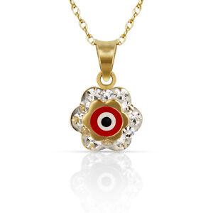 14k Yellow or White Gold CZ Flower Evil Eye Pendants