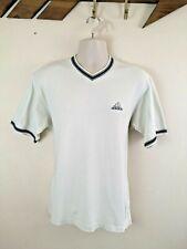 Adidas T Shirt. 90s Vintage . V Neck. Knitted Trims. Short Sleeve. White. Medium