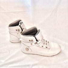 AIRWALK White Gold High Tops Skate Board Shoes Sz 6  - Fold over - Leopard