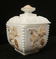 Vintage Westmoreland Milk Glass Beaded Grape Box With Lid 22k Gold Trim/Accents