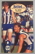 ST KILDA V CARLTON ROUND 5 1993 APRIL 25 ANZAC DAY AFL RECORD SAINTS V BLUES