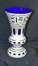 Spectacular Large Bohemian Crystal Milk Glass Cut To Cobalt Decorated Table Vase