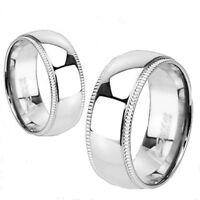 Traditional Titanium Wedding Band Ring High Polished & Milgrain Edges Sizes 5-13