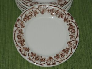 """6 VinTage McNICOL RESTAURANT CHINA BROWN ROSES & SCALLOPS 5 1/2"""" BREAD PLATES A"""