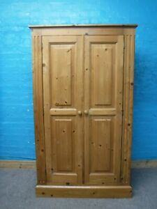CHUNKY SOLID WOOD DOUBLE 2DOOR WARDROBE H158 W92 D54cm- VISIT OUR WAREHOUSE