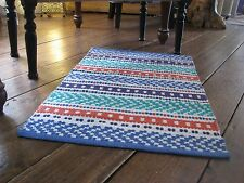 Rug Fair Trade Mat Cotton Multi Colour Stripe  Ethnic Hand Loomed  60 x 90cm