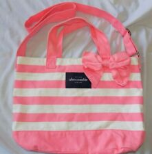 ABERCROMBIE Kids Girls Pink White Striped Canvas Tote Bag Adjustable Strap