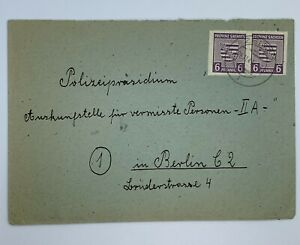 1945 SOVIET OCC SAXONY IMPERF STAMP PAIR #13N4A  SAXONY COAT OF ARMS TO BERLIN