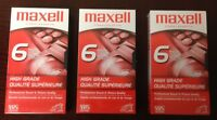 Maxell 6 Hours T-120 VHS High Grade Blank Tape Sealed Videocassette Lot of 3