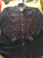 Field And Stream Mens Medium Blue Navy Long Sleeve Thick Cotton Button Up Shirt